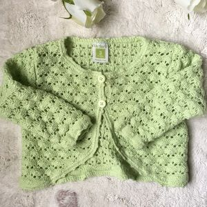 Carter's 3 month old mint green crocheted cardigan
